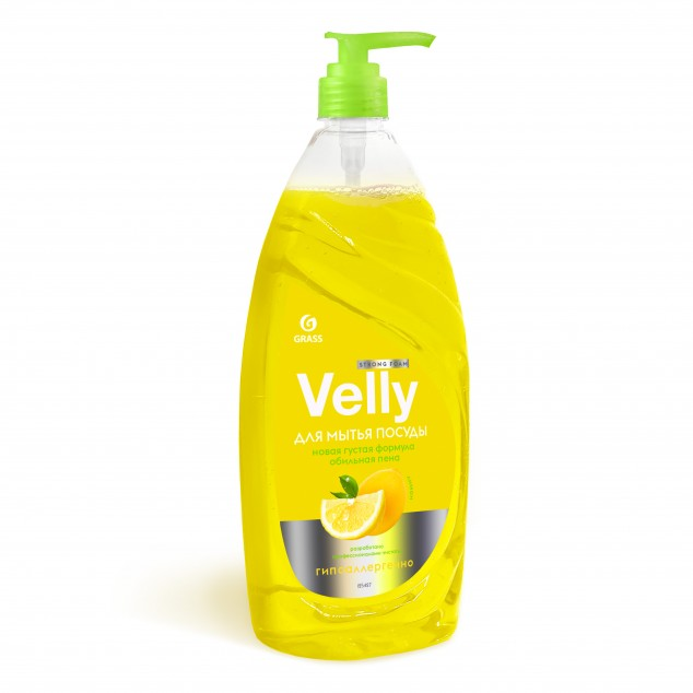Средство для мытья посуды VELLY «Лимон» 125427, флакон с дозатором 1 литр