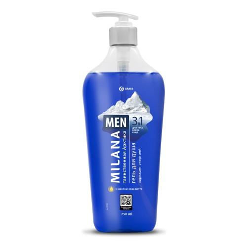 Гель для душа MILANA «Таинственная Арктика» MEN 125460, с маслом эвкалипта, флакон 750 мл