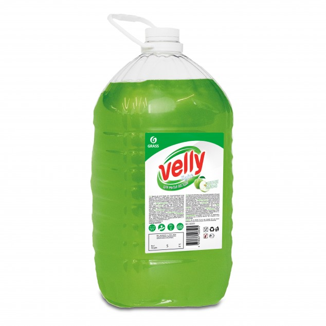 Средство для мытья посуды VELLY «Light» 125469, зелёное яблоко, канистра 5 кг