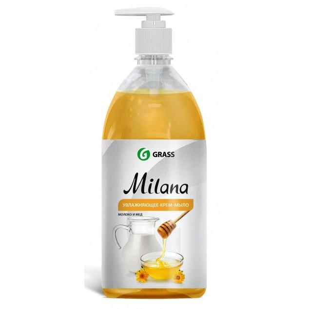 Жидкое крем-мыло «Milana» Молоко и Мёд, с дозатором (флакон 1000 мл)