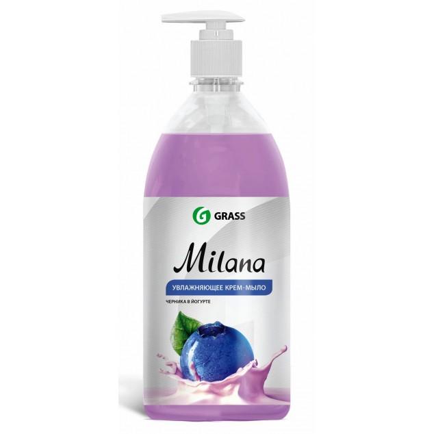 Жидкое крем-мыло «Milana» Черника в йогурте, с дозатором (флакон 1000 мл)
