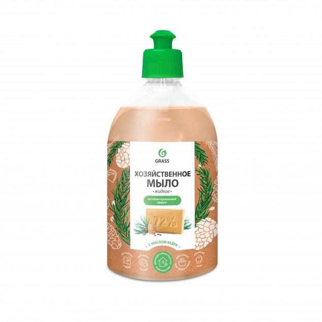 Хозяйственное жидкое мыло с маслом кедра, антибактериальное, 125580, флакон 500 мл с крышкой пуш-пул